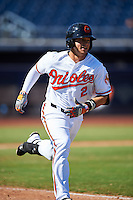 Peoria Javelinas Adrian Marin (2), of the Baltimore Orioles organization, during a game against the Mesa Solar Sox on October 19, 2016 at Peoria Stadium in Peoria, Arizona.  Peoria defeated Mesa 2-1.  (Mike Janes/Four Seam Images)