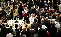 Papa Francesco parla al suo arrivo in Aula Paolo VI in Vaticano. 19 novembre 2017.<br /> Sua Santità ha offerto un pranzo ai bisognosi (senzatetto, migranti, disoccupati) dopo aver celebrato una Messa in occasione della prima Giornata Mondiale dei Poveri.<br /> Pope Francis speaks as he arrives for a lunch in Paul VI Hall  at the Vatican on Sunday, November 19, 2017. <br /> Pope Francis is offering several hundred poor people (homeless, migrants, unemployed) a lunch after celebrating a special mass to mark the new World Day of the Poor.<br /> UPDATE IMAGES PRESS/Isabella Bonotto<br /> <br /> STRICTLY ONLY FOR EDITORIAL USE