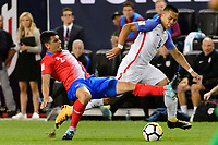 Harrison, NJ - Friday Sept. 01, 2017: Johnny Acosta, Bobby Wood during a 2017 FIFA World Cup Qualifier between the United States (USA) and Costa Rica (CRC) at Red Bull Arena.