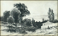 BNPS.co.uk (01202) 558833<br /> Picture: Cheffins/BNPS<br /> <br /> ****Please use full byline****<br /> <br /> A collection of 'lost' drawings by famed British artist John Constable have been discovered.<br /> <br /> The seven pencil drawings by the romantic painter include one of a horse and plough next to a stream he produced in a pocket-sized sketchbook while on honeymoon.<br /> <br /> Significantly, it was drawn five years before his most famous work, the Hay Wain - his masterpiece of three horses pulling a large cart across a river in Suffolk.<br /> <br /> Although Constable's small drawing was of a scene in Berkshire, experts say it shows his early love of a familiar subject matter that he became known for.<br /> <br /> Other scenes the landscape artist expertly sketched include a river meadow and a footbridge in East Anglia.<br /> <br /> They were bought at a London art dealers in 1952 and have been kept by the same owner ever since.<br /> <br /> They are now coming up for sale as individual lots for up to &pound;12,000 each at Cheffins Auctioneers of Cambridge.