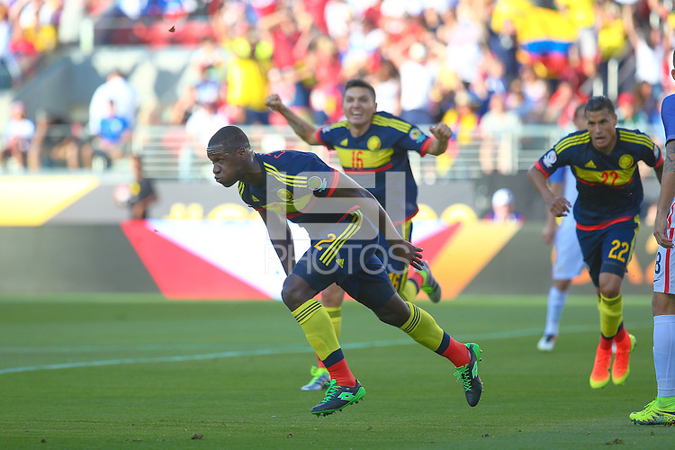 Action photo during the match United States vs Colombia, Corresponding Group -A- America Cup Centenary 2016, at Levis Stadium<br /> <br /> Foto de accion durante e partido Estados Unidos vs Colombia, Correspondiante al Grupo -A-  de la Copa America Centenario USA 2016 en el Estadio Levis, en la foto: Festejo de gol de Cristian Zapata  de Colombia<br /> <br /> 03/06/2016/MEXSPORT/German Alegria.