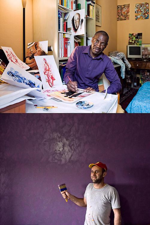 COLORI E PITTORI<br /> Romain Mayoulou pittore<br /> Decoratore e imbianchino<br /> <br /> Essere adatti,<br /> con garbo e intelligenza<br /> nel tutto<br /> entrare,<br /> stare<br /> e abitare.<br /> <br /> Il quadro dei viola <br /> e dei grigi. <br /> Del sorriso <br /> e delle macchie.