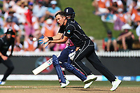 New Zealand's Trent Boult fielding off his own bowling. New Zealand Blackcaps v England. One Day International Cricket. Seddon Park, Hamilton, New Zealand on Sunday 25 February 2018.<br /> <br /> Copyright photo: &copy; Bruce Lim / www.photosport.nz