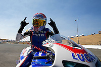 Jul. 28, 2013; Sonoma, CA, USA: NHRA pro stock motorcycle rider Hector Arana Jr celebrates after winning the Sonoma Nationals at Sonoma Raceway. Mandatory Credit: Mark J. Rebilas-