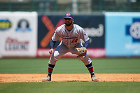 Jacksonville Jumbo Shrimp third baseman J.C. Millan (20) during a Southern League game against the Mississippi Braves on May 5, 2019 at Trustmark Park in Pearl, Mississippi.  Mississippi defeated Jacksonville 1-0 in ten innings.  (Mike Janes/Four Seam Images)