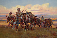 In the Enemy's Country, painting, detail, oil on canvas, 1921, by Charles Marion Russell, American, 1864-1926, in the Denver Art Museum, Denver, Colorado, USA. The painting depicts Kootenai Indians crossing territory controlled by hostile Blackfeet. In a attempt to pass for buffalo, the hunters walk alongside horses draped with buffalo robes (notice how more distant figures start to look like buffalo). Picture by Manuel Cohen