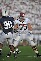 10 September 2011:  Alabama G/T Barrett Jones (75). The Alabama Crimson Tide defeated the Penn State Nittany Lions 27-11 at Beaver Stadium in State College, PA...