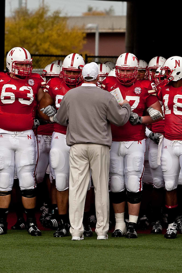 24 October 2009: Nebraska Coach Bo Pelini gives that last words of encouragement before taking the field to play against Iowa State at Memorial Stadium, Lincoln, Nebraska. Iowa State defeats Nebraska 9 to 7.