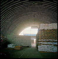 En Geneina, W. Darfur, Sudan, Dec 15, 2004.The WFP warehouse  with relief food aid. The WFP provides food for nearly 1 200 000 IDP's in Darfur and 200 000 refugees in neighboring Chad, this level of involvment requires colossal logistical means.