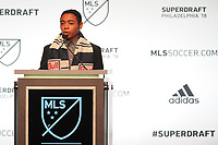 Philadelphia, PA - Thursday January 19, 2018: Niko DeVera during the 2018 MLS SuperDraft at the Pennsylvania Convention Center.