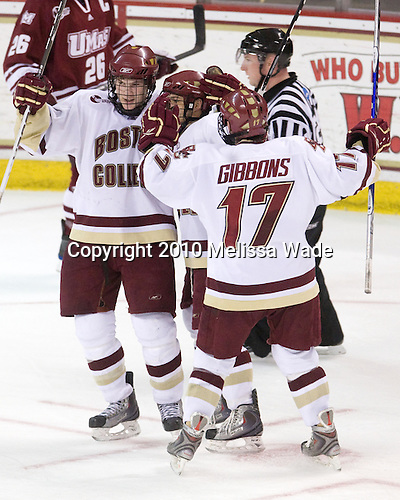 Ben Smith (BC - 12), Steven Whitney (BC - 21), Brian Gibbons (BC - 17) - The Boston College Eagles defeated the University of Massachusetts-Amherst Minutemen 6-5 on Friday, March 12, 2010, in the opening game of their Hockey East Quarterfinal matchup at Conte Forum in Chestnut Hill, Massachusetts.