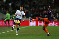 Kieran Trippier of Tottenham Hotspur chips the ball past Raheem Stirling of Manchester City during Tottenham Hotspur vs Manchester City, Premier League Football at Wembley Stadium on 29th October 2018