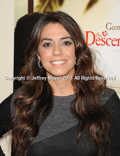"LOS ANGELES, CA - NOVEMBER 15: Haroula Rose attends ""The Descendants"" Los Angeles Premiere at AMPAS Samuel Goldwyn Theater on November 15, 2011 in Beverly Hills, California."