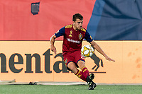 FOXBOROUGH, MA - SEPTEMBER 21: Tate Schmitt #21 of Real Salt Lake passes the ball during a game between Real Salt Lake and New England Revolution at Gillette Stadium on September 21, 2019 in Foxborough, Massachusetts.