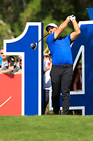 Francesco Molinari (ITA) on the 14th tee during the final round of the DP World Tour Championship, Jumeirah Golf Estates, Dubai, United Arab Emirates. 18/11/2018<br /> Picture: Golffile | Fran Caffrey<br /> <br /> <br /> All photo usage must carry mandatory copyright credit (© Golffile | Fran Caffrey)