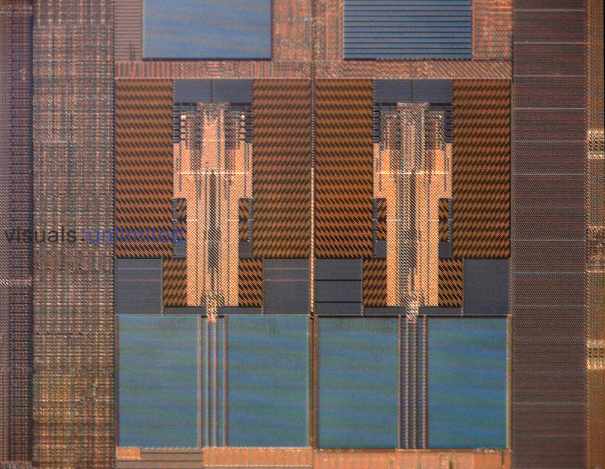 Micrograph of a computer microprocessor. LM X200