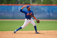 GCL Mets shortstop Cesar Berbesi (21) throws to first base during a Gulf Coast League game against the GCL Marlins on August 11, 2019 at St. Lucie Sports Complex in St. Lucie, Florida.  GCL Marlins defeated the GCL Mets 3-2 in the second game of a doubleheader.  (Mike Janes/Four Seam Images)