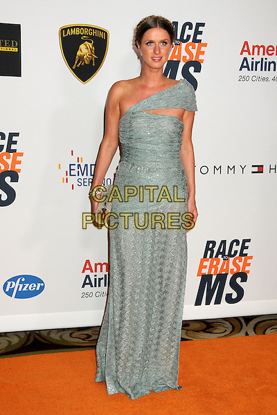 NICKY HILTON.17th Annual Race To Erase MS held at the Hyatt Regency Century Plaza Hotel, Century City, California, USA..May 7th, 2010.full length grey gray green silver dress one shoulder clutch bag knitted cut out maxi clutch bag.CAP/ADM/BP.©Byron Purvis/AdMedia/Capital Pictures.
