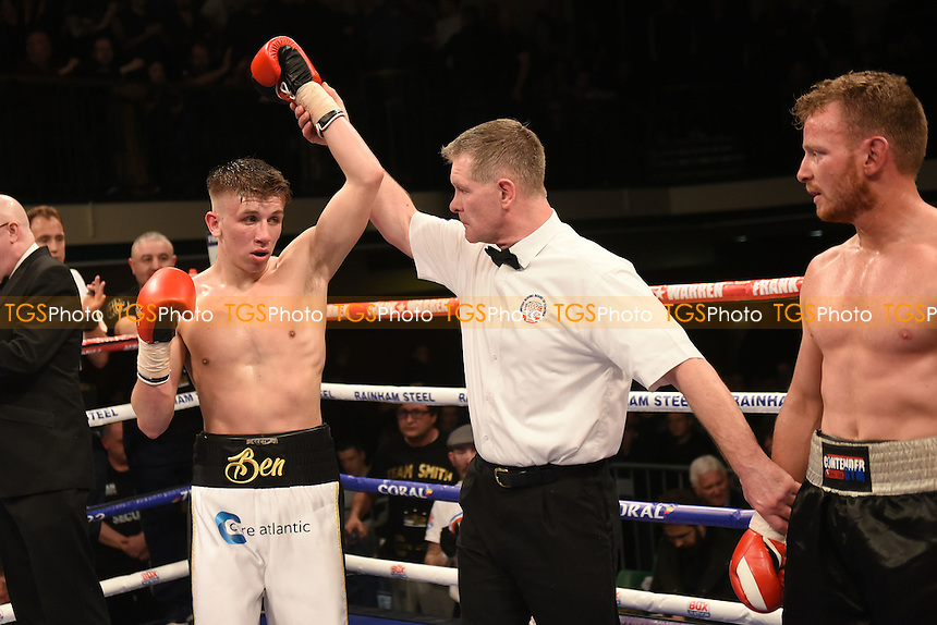 Ben Smith (white shorts) defeats Dan Carr during a Boxing Show at York Hall, promoted by Frank Warren