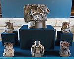 Ceramic effigies from the ruins of the Zapotec city of Atzompa in the Museo Comunitario Santa Maria Atzompa, Oaxaca, Mexico.
