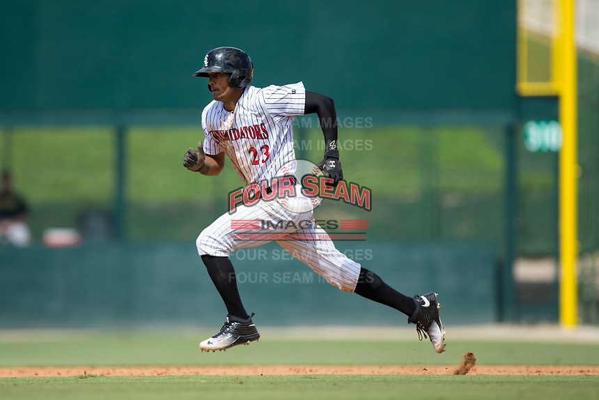 Joel Booker (23) of the Kannapolis Intimidators takes off for second base during the game against the West Virginia Power at Kannapolis Intimidators Stadium on June 18, 2017 in Kannapolis, North Carolina.  The Intimidators defeated the Power 5-3 to win the South Atlantic League Northern Division first half title.  It is the first trip to the playoffs for the Intimidators since 2009.  (Brian Westerholt/Four Seam Images)