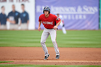 Potomac Nationals first baseman Ian Sagdal (1) leads off first base during the first game of a doubleheader against the Salem Red Sox on June 11, 2018 at Haley Toyota Field in Salem, Virginia.  Potomac defeated Salem 9-4.  (Mike Janes/Four Seam Images)