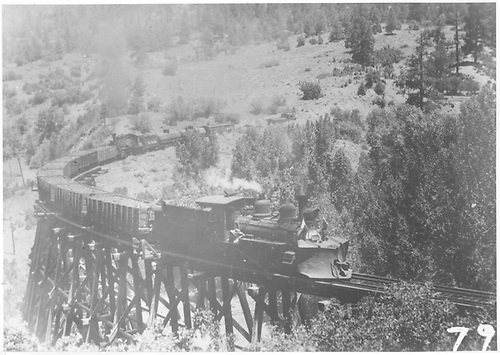 RGS freight with pusher engine in center of 12-car train on trestle 160-A.<br /> RGS  Franklin Junction, CO