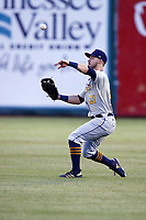 Montgomery Biscuit outfielder Thomas Milone (21) throws the ball into the infield after fielding a Chattanooga Lookouts batted ball in a game against the Chattanooga Lookouts on May 25, 2018 at AT&T Field in Chattanooga, Tennessee. (Andy Mitchell/Four Seam Images)