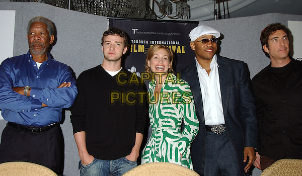 "MORGAN FREEMAN, JUSTIN TIMBERLAKE, PIPER PERABO, LL COOL J & DYLAN MCDERMOTT.At the ""Edison"" Press Conference held at Sutton Place Hotel during The Toronto Film Festival,.Toronto, 17th September 2005.half length blue shirt black jumper green white pattern dress cap sunglasses.Ref: ADM/LF.www.capitalpictures.com.sales@capitalpictures.com.© Capital Pictures."