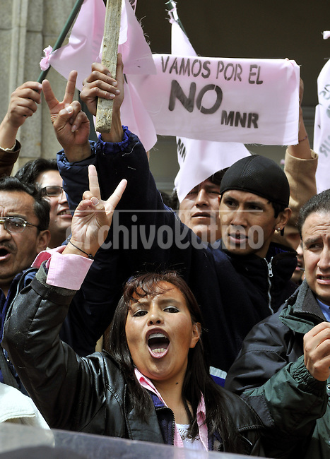 Followers of the opposition party MNR campaign to vote against a new political  constitution proposed by President of Bolivia  Evo Morales. The referendum on the new constitution is next Sunday, January 25th.
