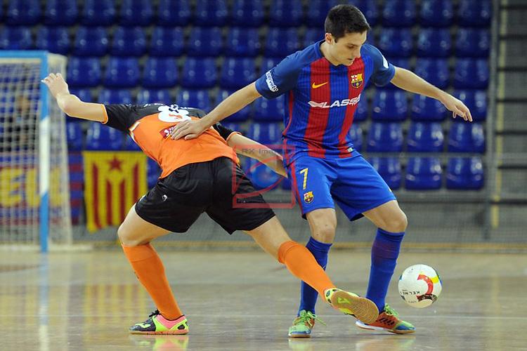 League LNFS 2016/2017 - Game 6.<br /> FC Barcelona Lassa vs Aspil Vidal Ribera Navarra: 7-1.<br /> Minguez vs Dyego.