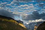 Cumulus clouds in spring over El Capitan and Half Dome, Yosemite Valley, Yosemite National Park, California