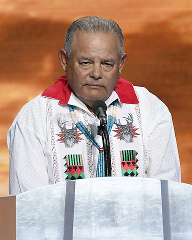 Native American Governor Eddie Torres delivers an innovation to open the fourth session of the 2016 Democratic National Convention at the Wells Fargo Center in Philadelphia, Pennsylvania on Thursday, July 28, 2016.<br /> Credit: Ron Sachs / CNP/MediaPunch<br /> (RESTRICTION: NO New York or New Jersey Newspapers or newspapers within a 75 mile radius of New York City)