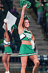 North Texas Mean Green cheerleaders in action during the game between the .Texas Arlington Mavericks and the North Texas Mean Green at the Super Pit arena in Denton, Texas. UTA defeats UNT 59 to 50...