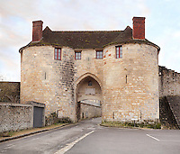 The Porte Saint Pierre, or St Peter's Gate, 13th century, at the medieval castle of Chateau-Thierry, where St Joan of Arc is said to have entered at the town's surrender to the forces of King Charles VII, Chateau-Thierry, Picardy, France. The Porte Saint Pierre was listed as a Historical Monument in 1886. The first fortifications on this spur over the river Marne date from the 4th century and the first castle was built in the 9th century Merovingian period by the counts of Vermandois. Thibaud II enlarged the castle in the 12th century and built the Tour Thibaud, and Thibaud IV expanded it significantly in the 13th century to include 17 defensive towers in the walls and an East and South gate. The castle was largely destroyed in the French Revolution after having been a royal palace since 1285. In 1814 it was used as a citadel for Napoleonic troops. Picture by Manuel Cohen