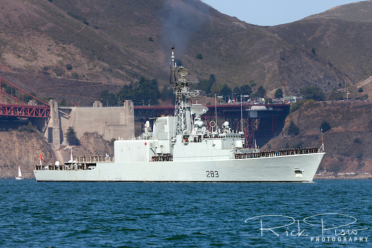 Iroquois-class destroyer HMCS Algonquin (DDG 283) enters San Francisco Bay in October of 2012. HMCS Algonquin was commissioned in 1973 and after a collision with another vessel the Algonquin was retired from service on September 19, 2014.