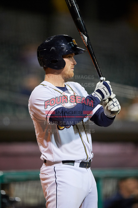 Montgomery Biscuits catcher Justin O'Conner (10) at bat during a game against the Mississippi Braves on April 24, 2017 at Montgomery Riverwalk Stadium in Montgomery, Alabama.  Montgomery defeated Mississippi 3-2.  (Mike Janes/Four Seam Images)