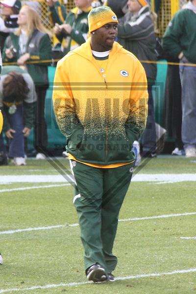 GREEN BAY - NOVEMBER 2009: Jarius Wynn prior to a game on November 1, 2009 at Lambeau Field in Green Bay, Wisconsin. (Photo by Brad Krause)