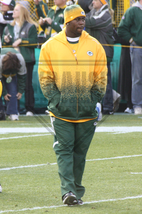 GREEN BAY - NOVEMBER 2009: Jarius Wynn prior to a game on November 1, 2009 at Lambeau Field in Green Bay, Wisconsin. (Photo by Brad Krause)