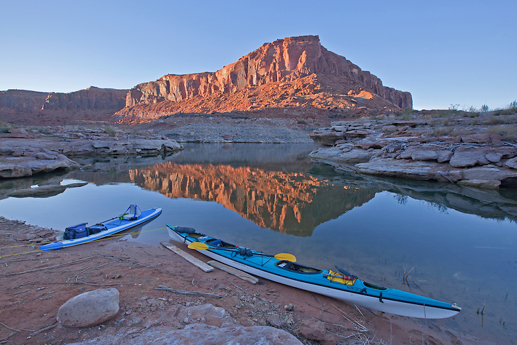 View of the sandstone monoliths from our camp in Fourmile Canyon at sunset along Lake Powerll in the Glen Canyon National Recreation Area, Utah