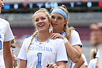 01 May 2016: North Carolina's Mallory Frysinger (1) and Molly Hendrick (right). The University of North Carolina Tar Heels played the Syracuse University Orange at Lane Stadium in Blacksburg, Virginia in the 2016 Atlantic Coast Conference Women's Lacrosse Tournament championship match. North Carolina won 15-14 in overtime.