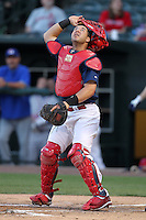 Memphis Redbirds catcher Tony Cruz #18 during a game versus the Round Rock Express at Autozone Park on April 28, 2011 in Memphis, Tennessee.  Memphis defeated Round Rock by the score of 6-5 in ten innings.  Photo By Mike Janes/Four Seam Images