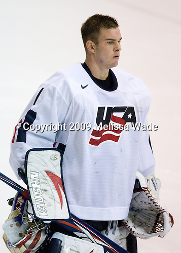 Jack Campbell (US White - 1) - Team White defeated Team Blue 8-7 (OT) in their third scrimmage of the 2009 USA Hockey National Junior Evaluation Camp on Sunday, August 9, 2009, in the USA (NHL-sized) Rink in Lake Placid, New York.