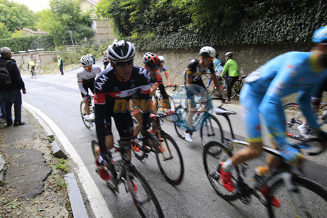 Riders including Martin Elmiger (SUI) IAM Cycling tackle the final climb of Superga near the finish of the 2015 96th Milan-Turin 186km race starting at San Giuliano Milanese, Italy. 1st October 2015.<br /> Picture: Eoin Clarke | Newsfile