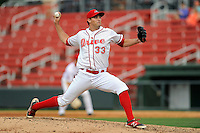 Pitcher Reed Reilly (33) of the Greenville Drive delivers a pitch in a game against the Asheville Tourists on Friday, April 24, 2015, at Fluor Field at the West End in Greenville, South Carolina. Greenville won, 5-2. (Tom Priddy/Four Seam Images)