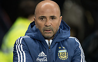 Argentina Head Coach (Manager) Jorge Sampaoli during the International Friendly match between Argentina and Italy at the Etihad Stadium, Manchester, England on 23 March 2018. Photo by Andy Rowland.