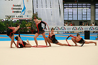 USA Senior Group finishes routine with hoops + clubs at 2007 Genoa World Cup of Rhythmic Gymnastics Groups on June 9, 2007 at Genoa, Italy.  (Photo by Tom Theobald)