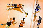 06.05.2018, Max Schmeling Halle, Berlin<br />Volleyball, Bundesliga MŠnner / Maenner, Play-offs, Finale 4. Spiel, Berlin Recycling Volleys vs. VfB Friedrichshafen<br /><br />Abwehr Paul Carroll (#12 Berlin), Robert Kromm (#3 Berlin), Adam White (#11 Berlin) - Thilo SpŠth-Westerholt / Spaeth-Westerholt (#3 Friedrichshafen), Philipp Collin (#9 Friedrichshafen)<br /><br />  Foto &copy; nordphoto / Kurth