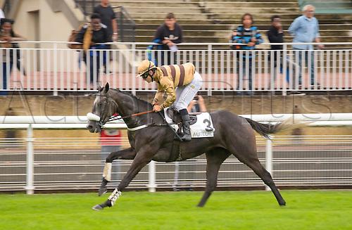 15.09.2016. Auteuil Racecourse, Paris, France.  Race 1-Royal Junior Hurdle.  Burn Out - Bertrand Lestrade  wins the race
