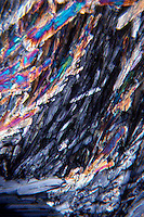 CUPRIC CHLORIDE CRYSTALS - CuCl2 (100X/35MM)<br /> CuCl2; 100x mag<br /> Liquefied & recrystallized; polarized light